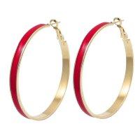 "2"" Dia Pair Red Gold Tone Plastic Cover Round Hoop"