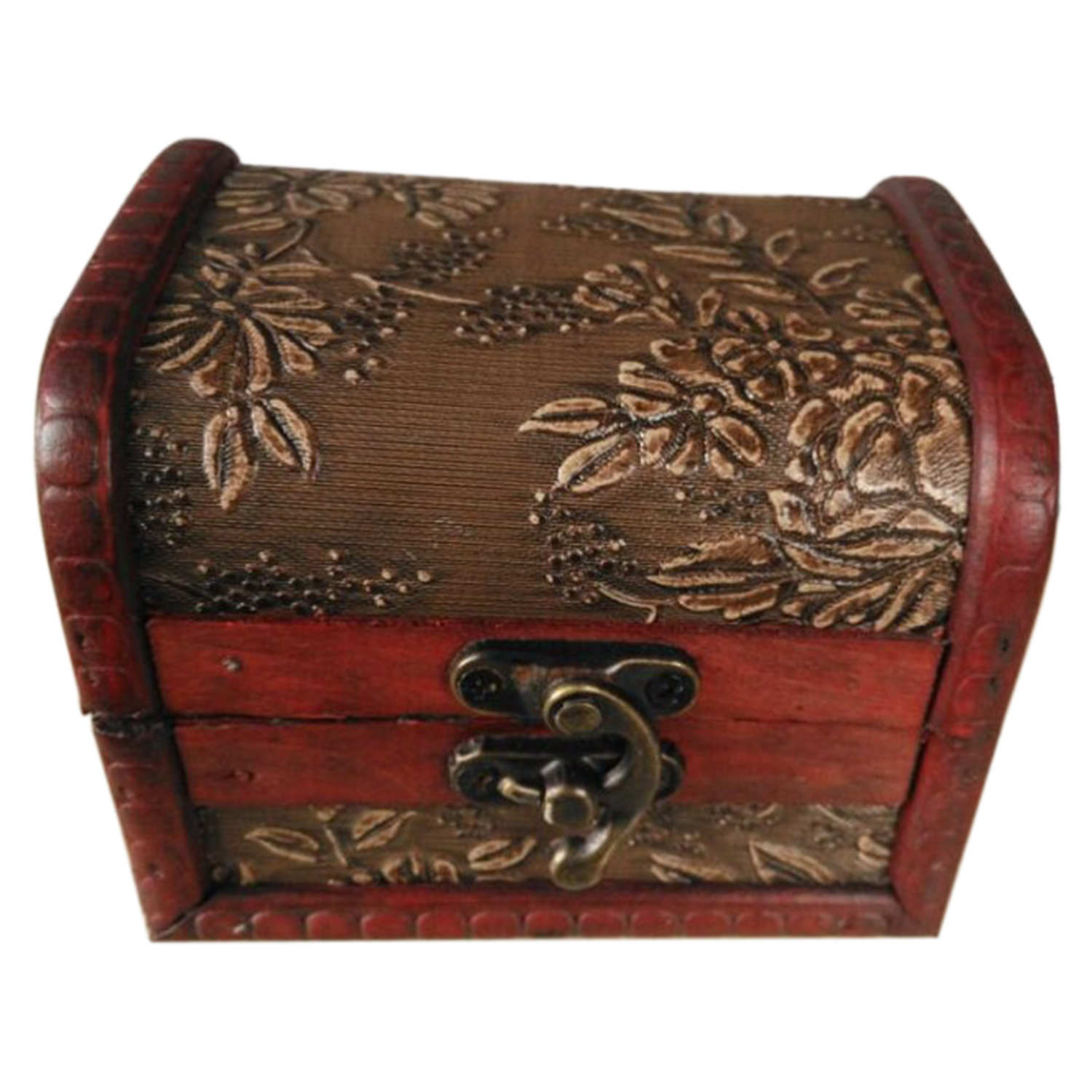 Vintage Style Jewellery Box Antique Style Embossed Flower Jewelry Gift Necklace Wood