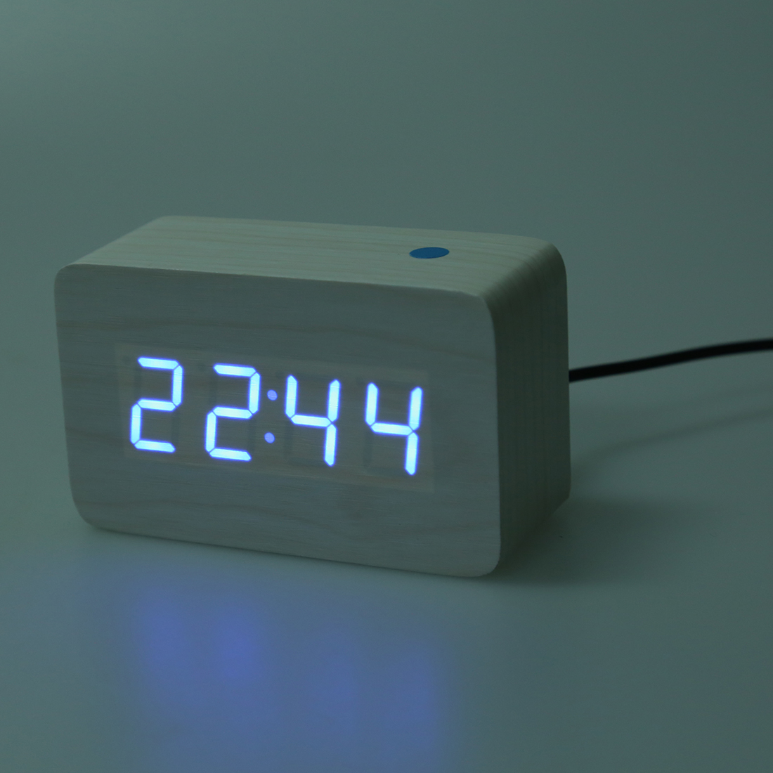 Modern Digital Clocks Modern Wooden Wood Usb Digital Blue Led Alarm Clock