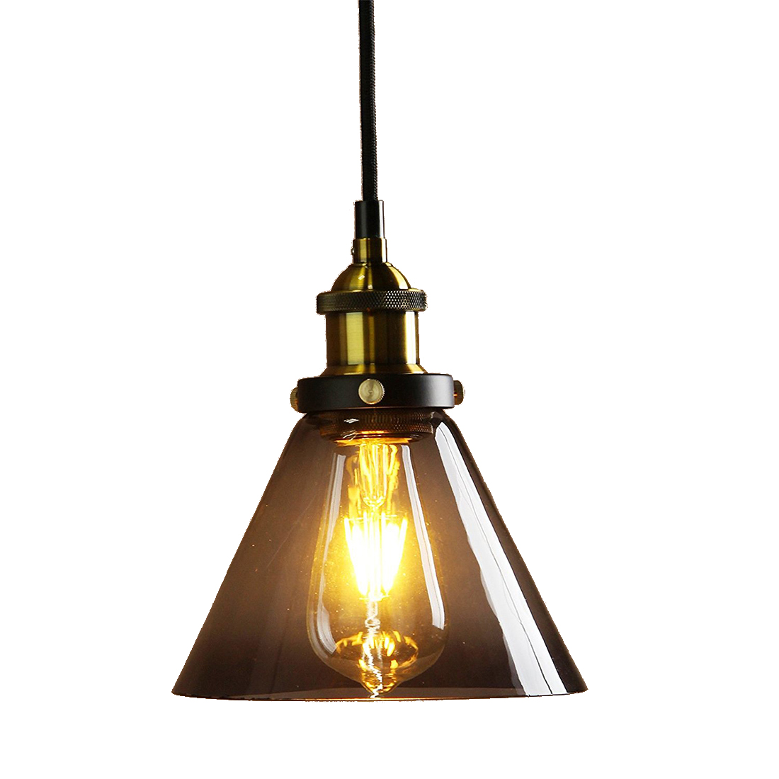 Grey Pendant Light Shade Metal Finish Black Gray Glass Shade Loft Pendant Lamp