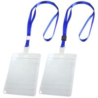 2 Pcs ID Card Badge Holder Adjustable Neck Strap Lanyard ...