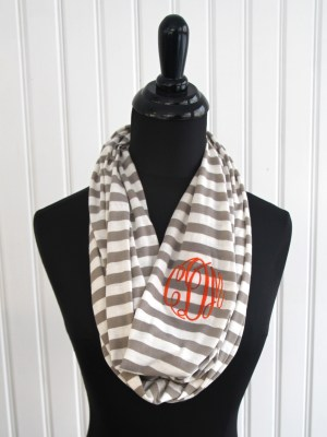 Monogrammed Striped Infinity Scarf