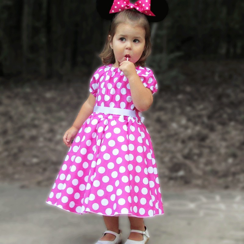 Pink and White Polka Dot Girls Dress - Lucky Skunks Baby-Toddler Clothes