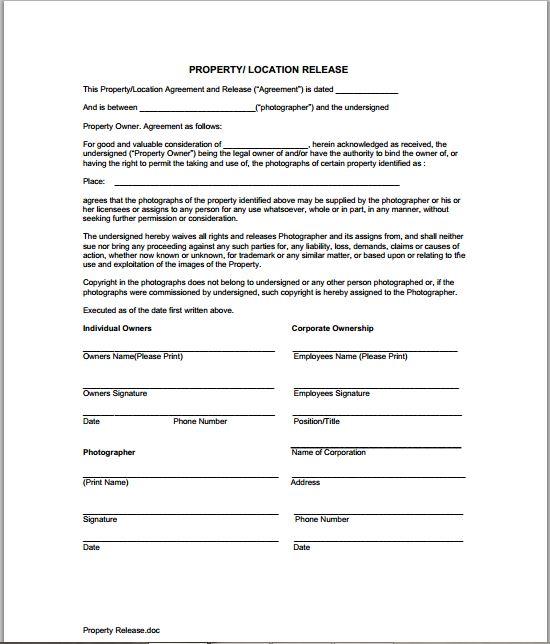 Copyright \u2013 Lucy Alexandra Pike - property release form
