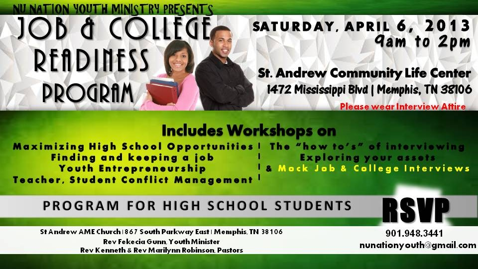 Job and College Readiness Program for High School Students April 6