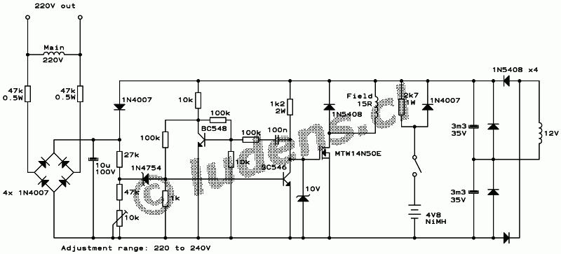 alternator avr schematic diagram
