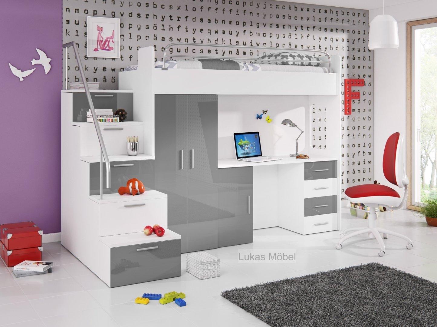 Hochglanz Etagenbett Alex : Hochglanz etagenbett doppelbett alex möbel für dich
