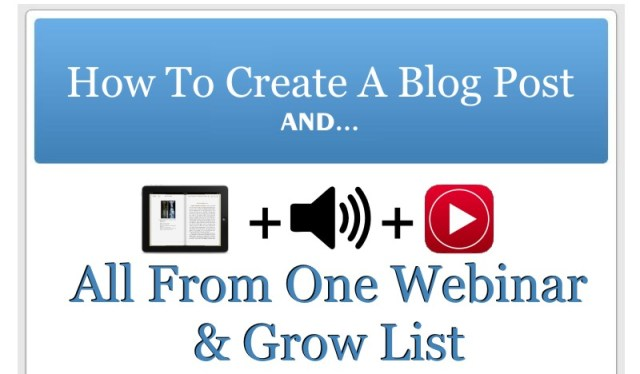 How, Create, A Blog Post ,eBook,, Audio Clip, and Video Clip, Email List, Webinar