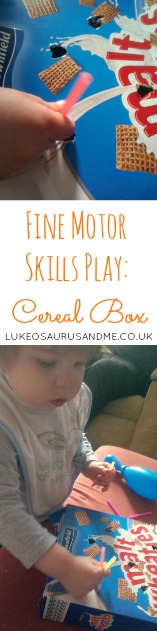 Fine Motor Skills Play using empty cereal box from //pactalom.net