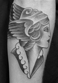 "This one is on my friend Kirk's arm. What I like about this in particular is the ""Liberty cap"" she wears also know as a ""Phrygian cap"" which signifies freedom and the pursuit of liberty."