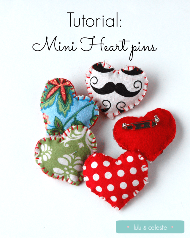 Mini Felt Heart pin tutorial