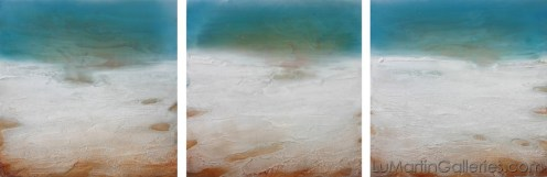 """Sea Whispers"" 30x90 in. (triptych) acrylic, sand, resin on wood panel"