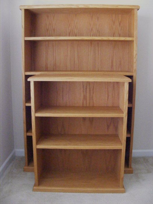 Red Oak Book Shelves With Natural Danish Oil Finish By
