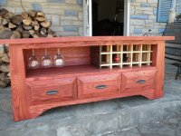 Oak TV Stand with Wine Rack - by cricket324 @ LumberJocks ...
