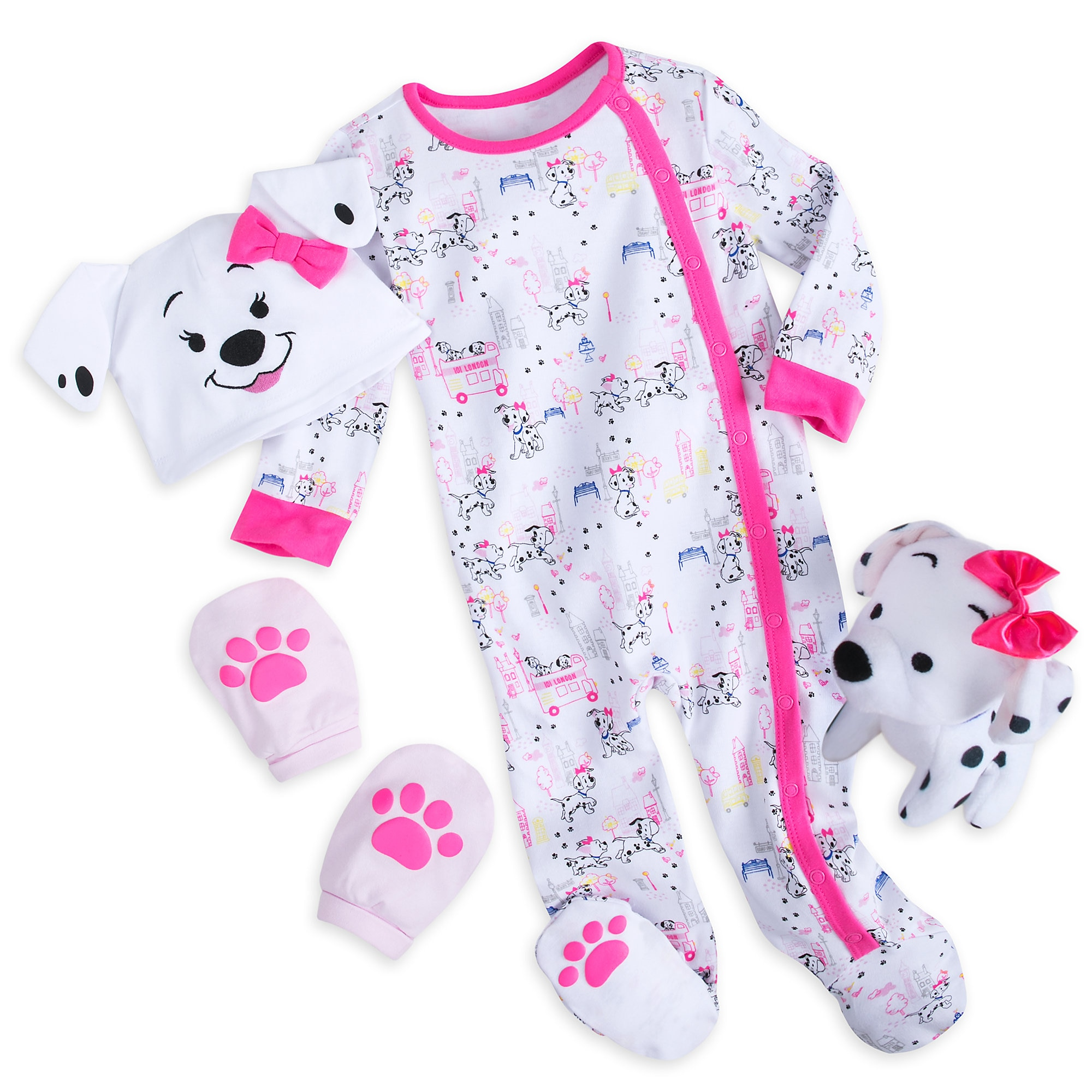 Bad Set For Baby 101 Dalmatians Gift Set For Baby Pink