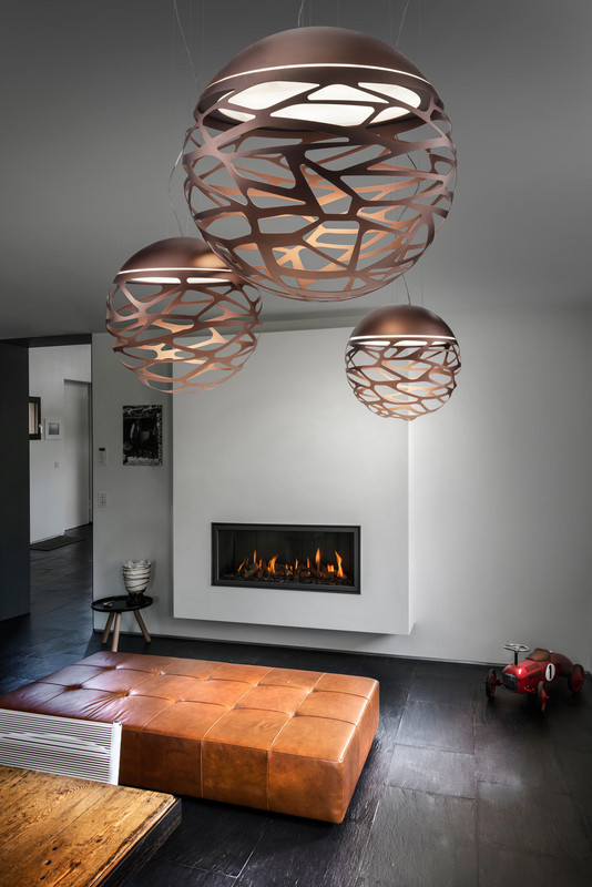 Lustre Salon Suspension Kelly Small Sphère 40cm Bronze, Studio Italia