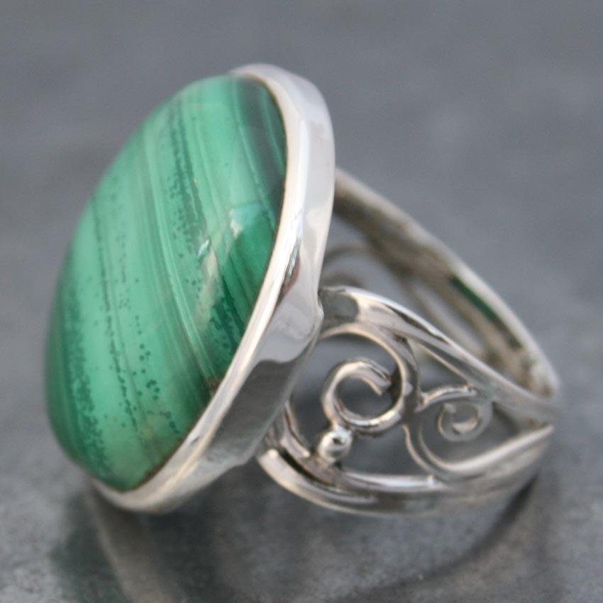 Malachite Wire Band Ring