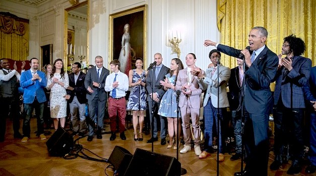 "President Barack Obama makes closing remarks following a performance of musical selections from ""Hamilton"" in the East Room of the White House, March 14, 2016. (Official White House Photo by Pete Souza)"