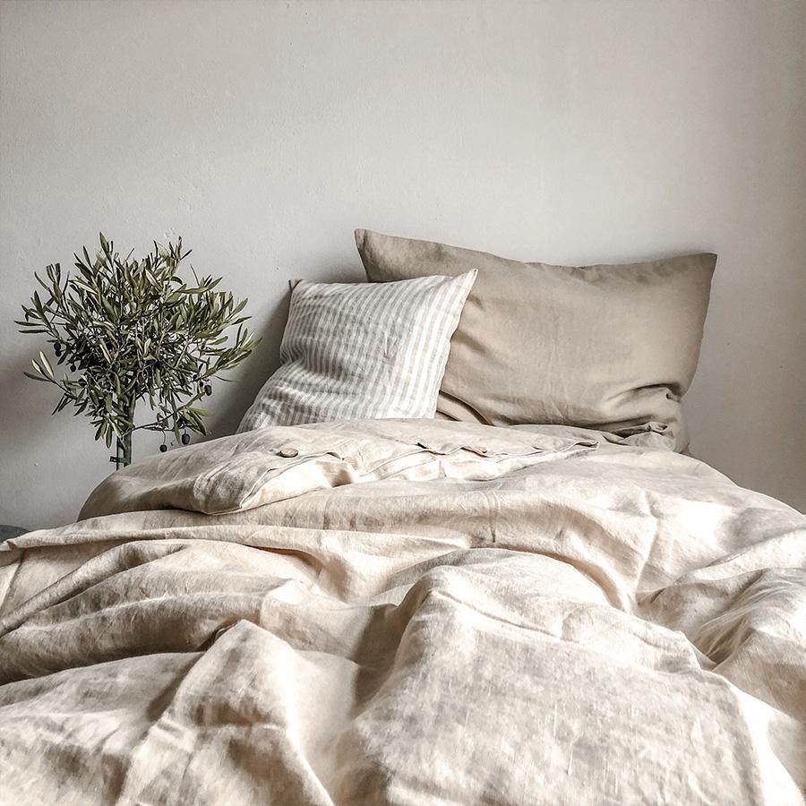 Bettwäsche Leinen Taupe   Home Lavie