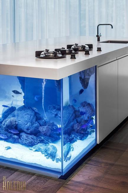Schrankwand Selber Bauen Nautical Theme For Modern Kitchen Design With Aquarium