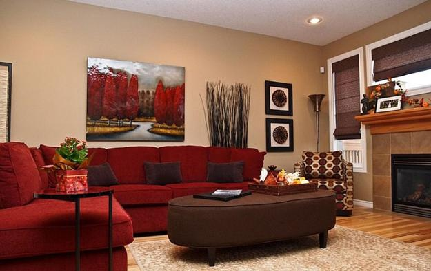 Velvet Sectional Modern Living Room Designs In Rich And Energetic Red Colors