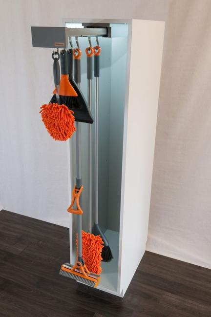 Broom Closet Sliding Home Organizers For Mops And Brooms, Space Saving