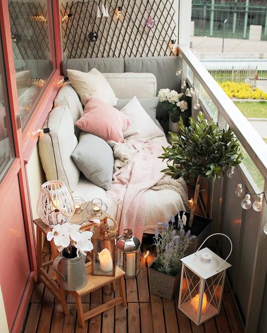 Compact Blue Sofa Cozy Small Balcony Designs And Bright Summer Decorating Ideas