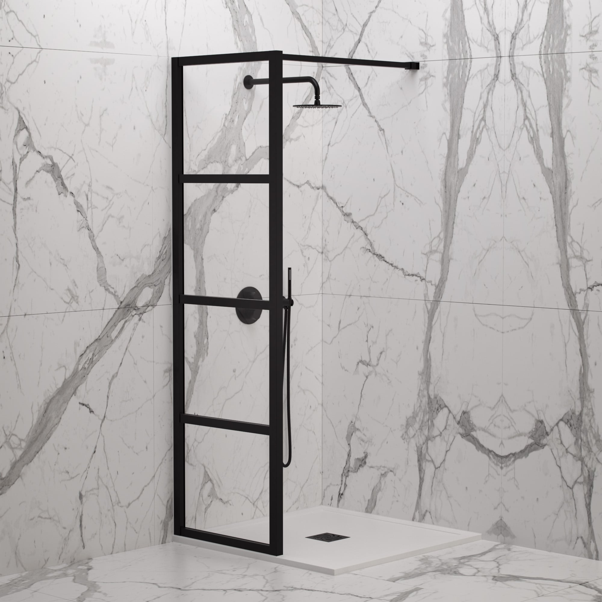 Industrial Shower Lusso Stone Industrial Complete Walk In Shower Enclosure