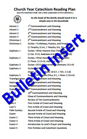Bulletin Insert – One Church-Year Catechism Reading Plan