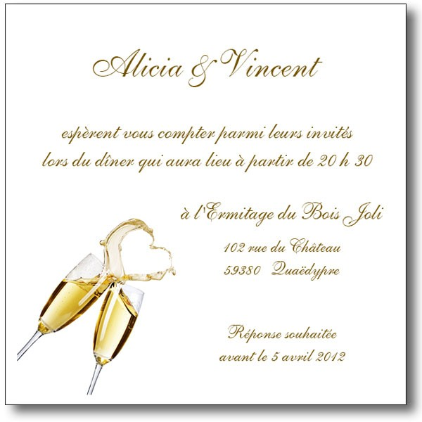Idee Decoration Table Cremaillere Carte Invitation Mariage Champagne Magique