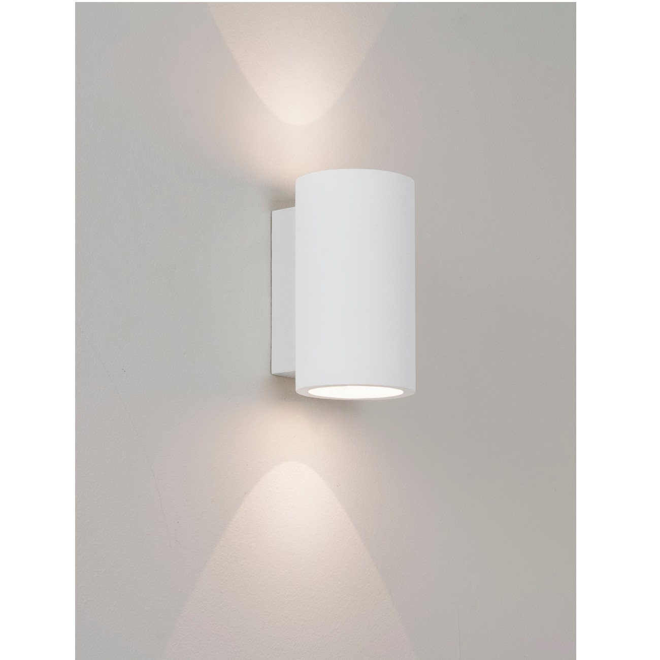 Badezimmerspiegel Rund Moderne Led-wandleuchte, Up- And Downlight, Gips Weiß