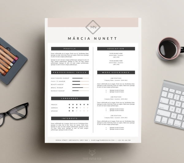 2-Page CV Template and Cover Letter for Word / Mar - Business