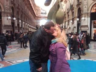 Sharing a Kiss in Milan, Italy