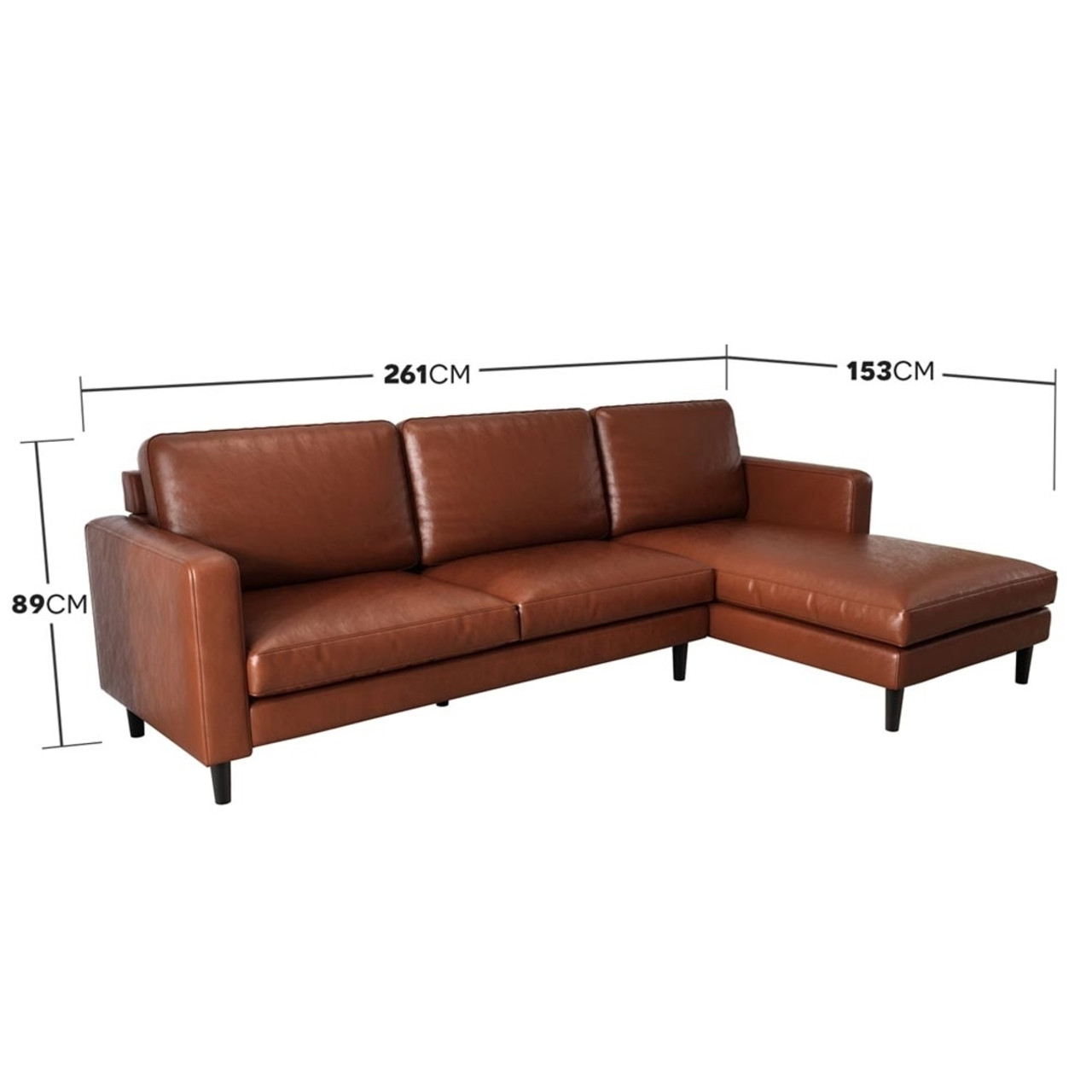 Nornas 3 Seater Pu Leather Sofa With Chaise 3 Seater Pu Leather Sofa With Chaise
