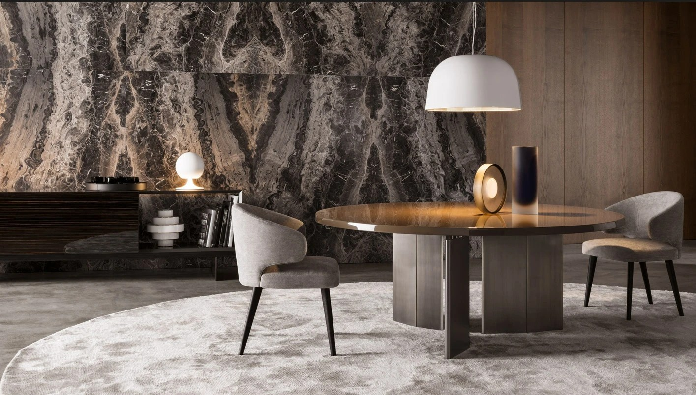 Chaises Fly The Morgan Round Dining Table, Minotti - Luxury Furniture Mr