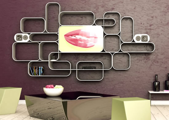 Soul Of Pop A Wall Mounted Av Unit Camouflages A Mirror