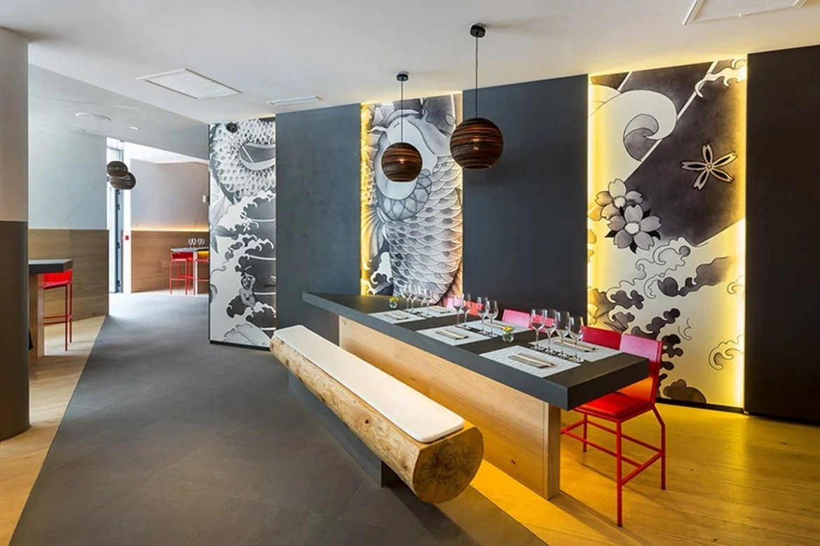 Japanese Style Interior Design Take A Look At This Japanese Koi Restaurant In France With