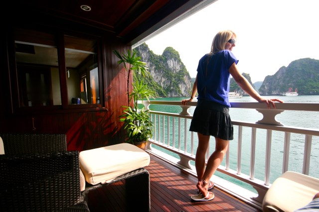 Me gazing out onto the beauty of Halong Bay from my very lovely cabin on Paradise Peak