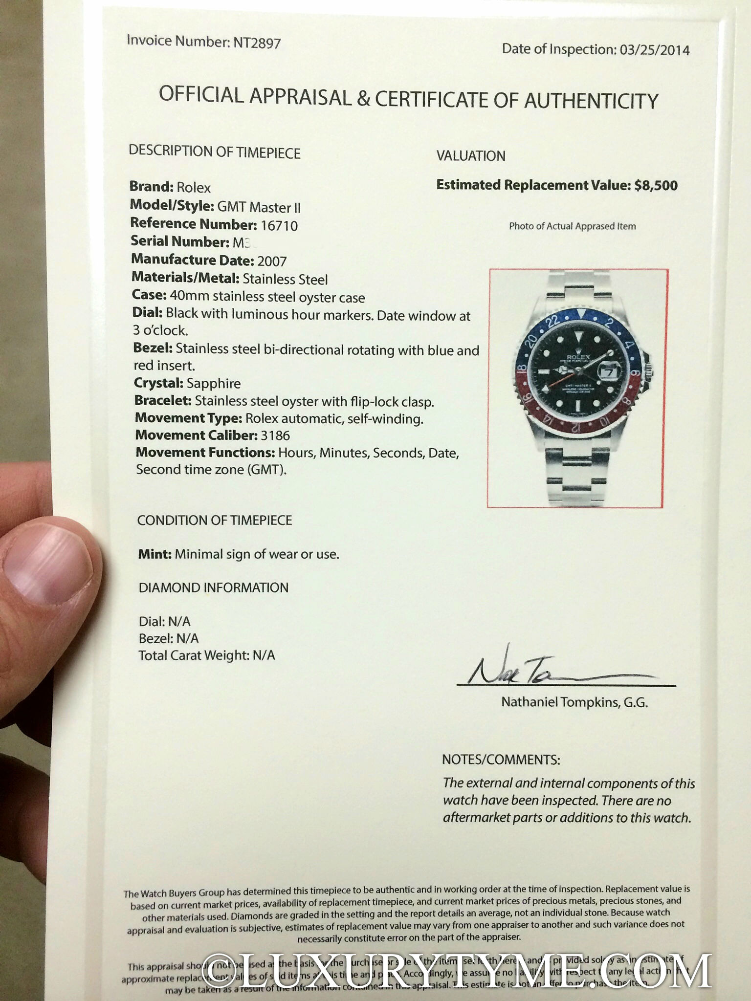 Image Result For Watch Appraisal For Insurance