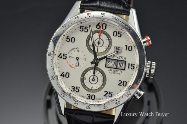 Mens Tag Heuer Carrera White Dial Chronograph Day Date