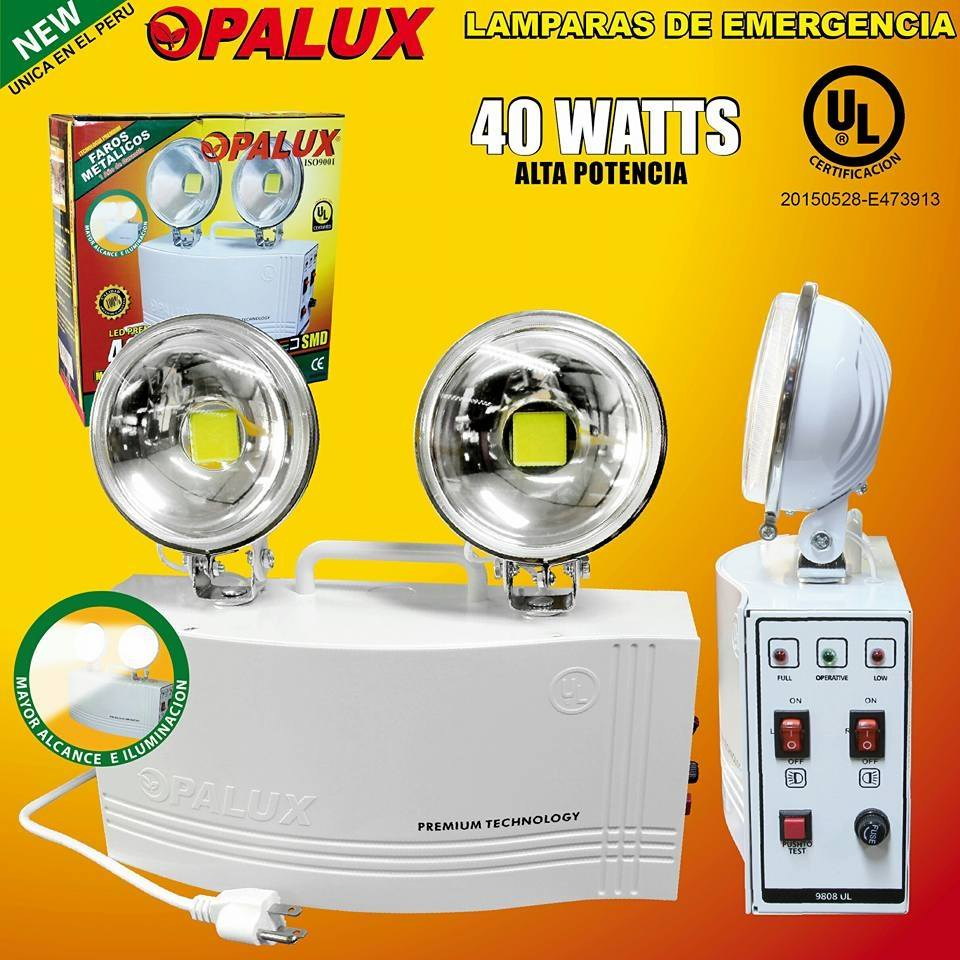 Lamparas De Emergencia Led Lampara Emergencia 40w 2x20w Leds 8 Horas Ul Opalux Luz Y Color