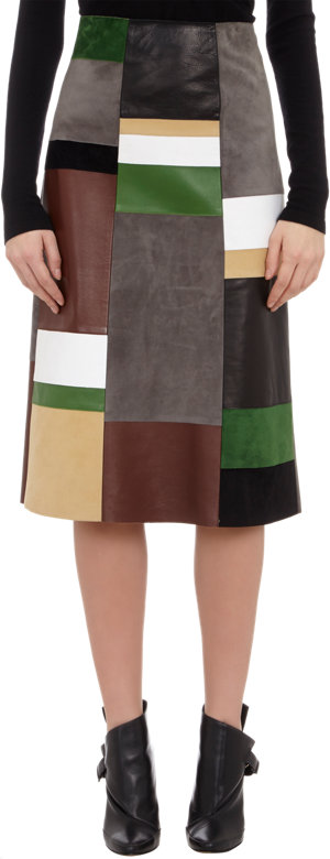 DEREK LAM Patchwork Leather Skirt $3590 now $1439
