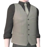 Black rolled up sleeve shirt and silver silk tie and vest ...