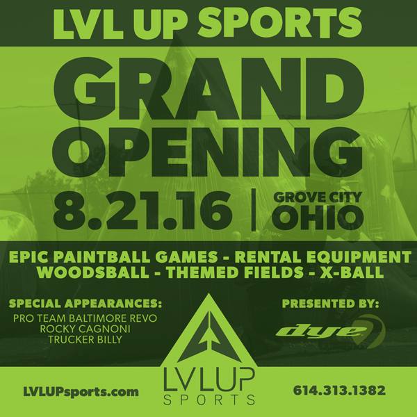 LVL UP Sports grand Opening flyer - LVL UP Sports Paintball Park - grand opening flyer