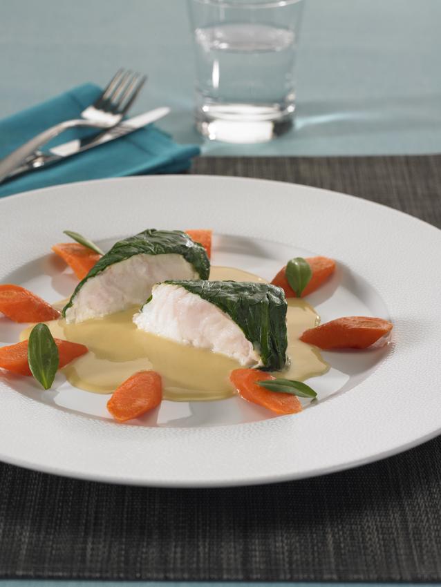 Tronçons de lotteenhabit d'Aster, carottes confites :restaurant l'Armen