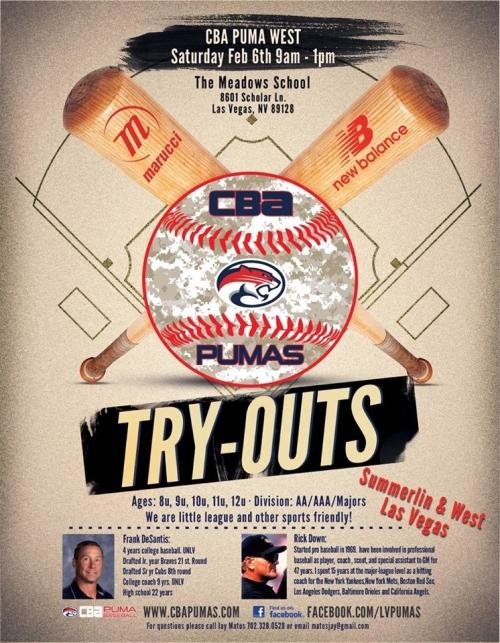 CBA Pumas Travel Baseball Team Tryouts - LV Sportz Foundation - Baseball Flyer