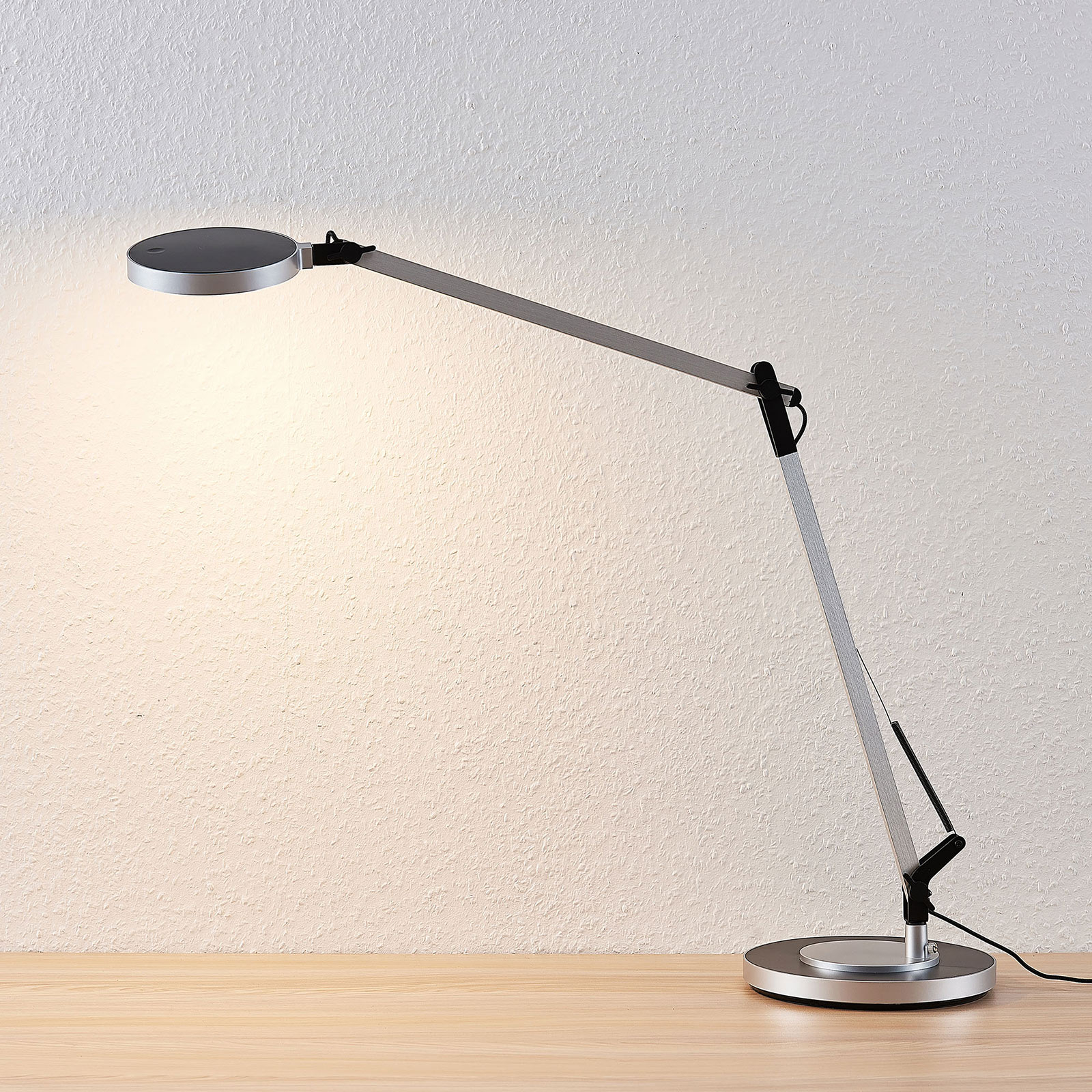 Lampe Mit Dimmer Rilana Led Desk Lamp With Dimmer, Silver | Lights.co.uk