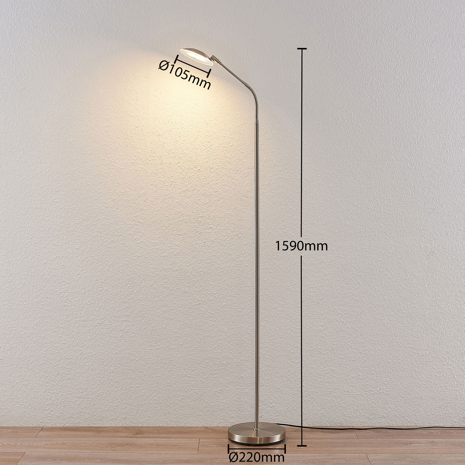 Led Leselampe Led-leselampe Meghan, Verstellbar, Nickel | Lampenwelt.at