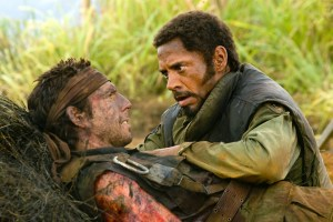 Courtesy Paramount Pictures Kirk Lazarus (Robert Downey Jr.) tends to a wounded Tugg Speedman (Ben Stiller).