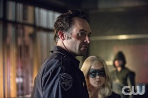 Cate Cameron/The CW Paul Blackthorne as Quentin Lance, Caity Lotz as Canary and Stephen Amell.